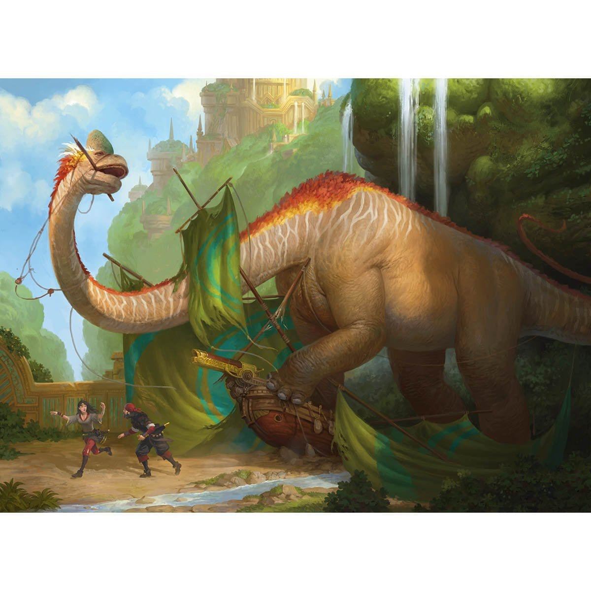 Thrashing Brontodon Print - Print - Original Magic Art - Accessories for Magic the Gathering and other card games