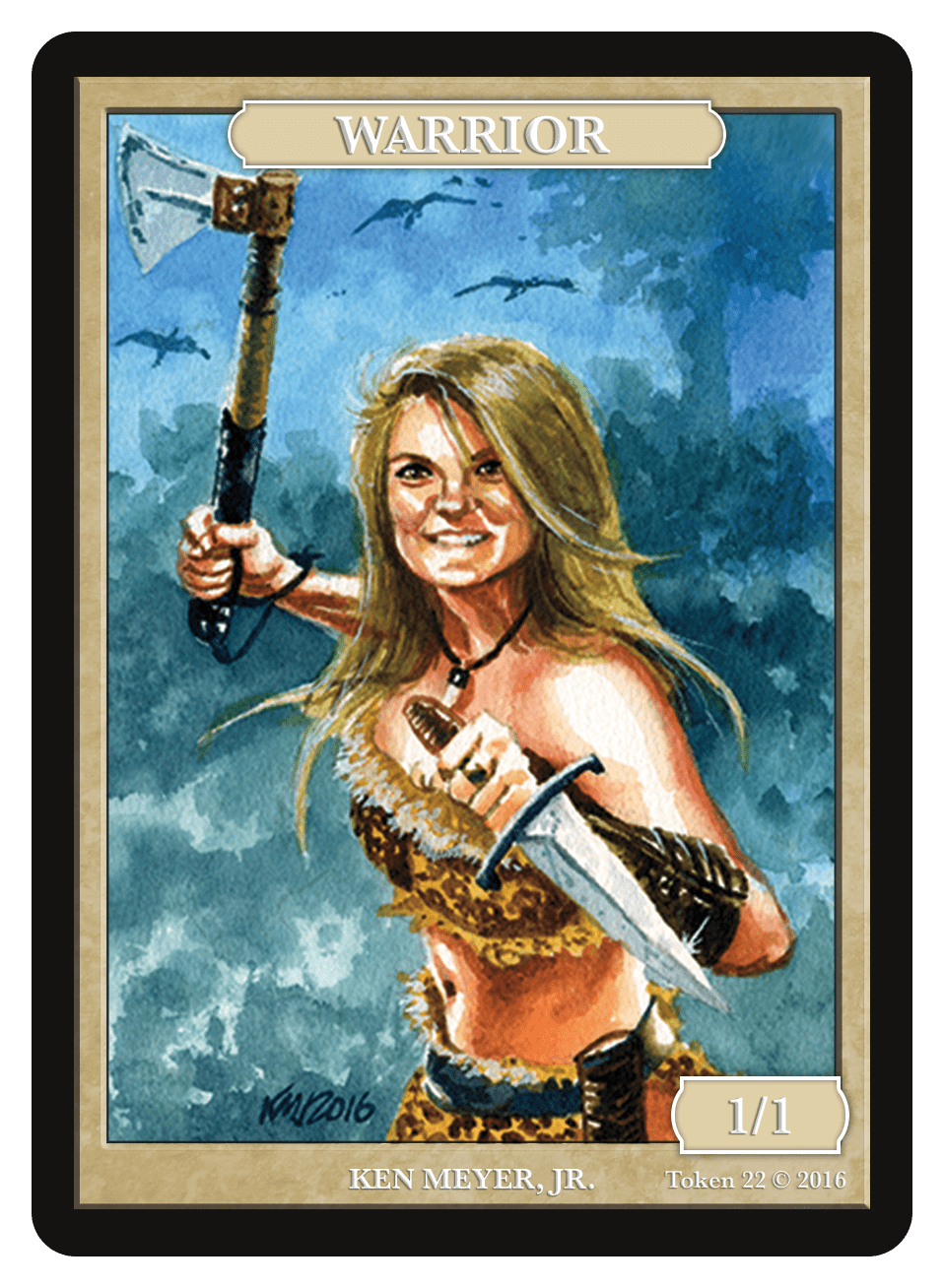 Warrior Token (1/1) by Ken Meyer Jr. - Token - Original Magic Art - Accessories for Magic the Gathering and other card games