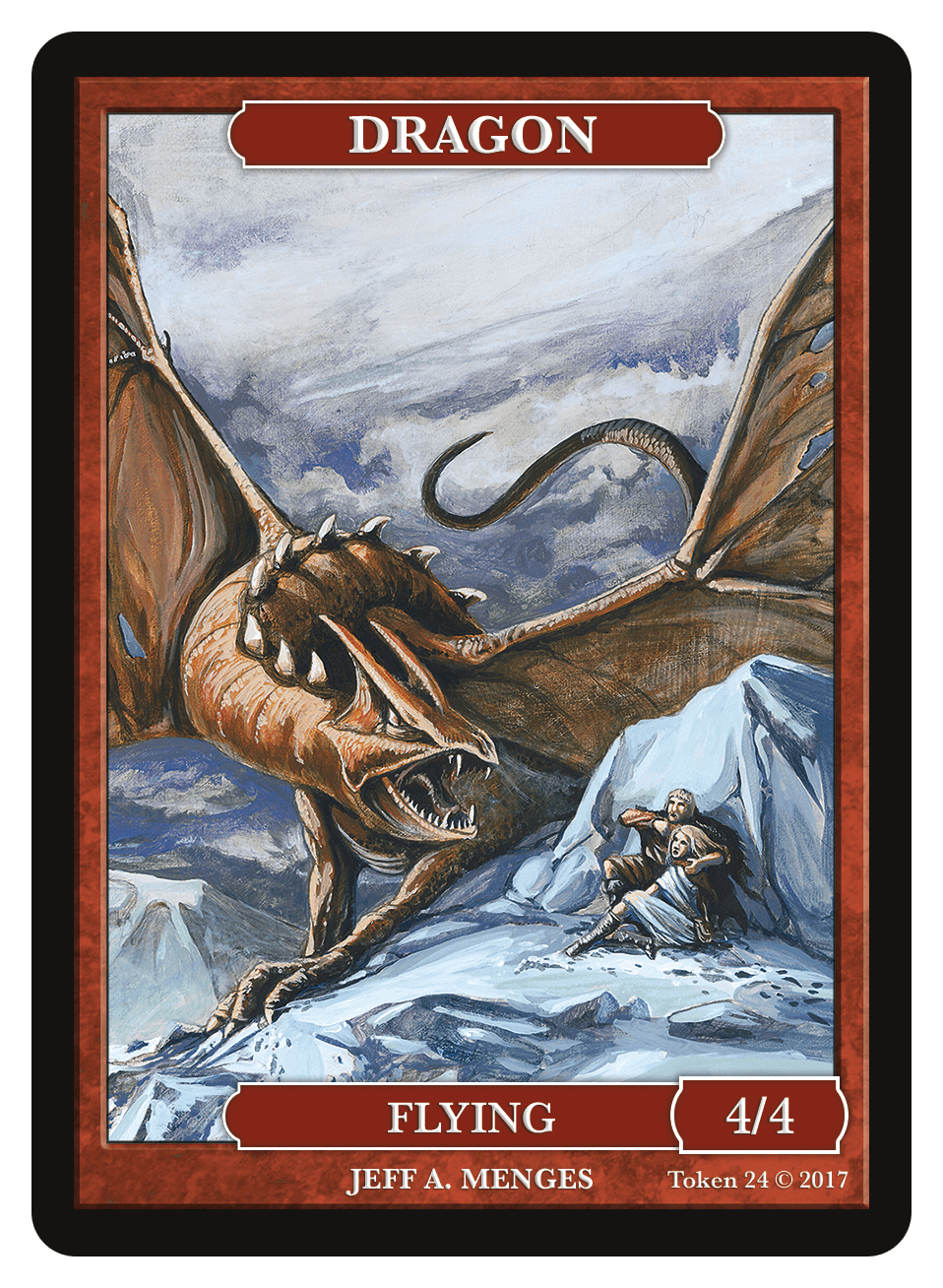 Dragon Token (4/4) by Jeff A. Menges - Token - Original Magic Art - Accessories for Magic the Gathering and other card games