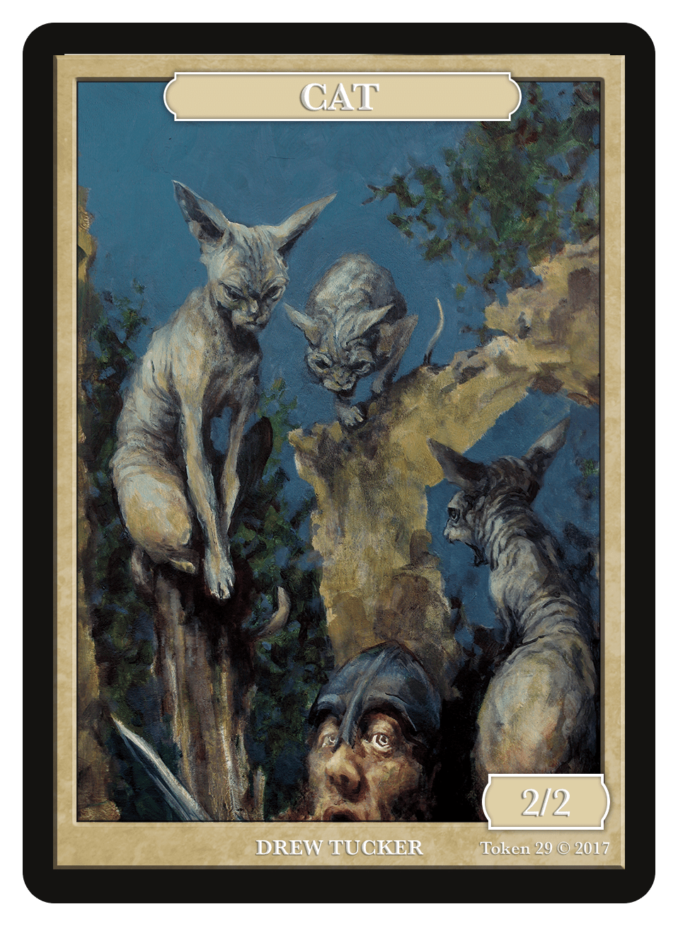 Cat Token (2/2) by Drew Tucker - Token - Original Magic Art - Accessories for Magic the Gathering and other card games