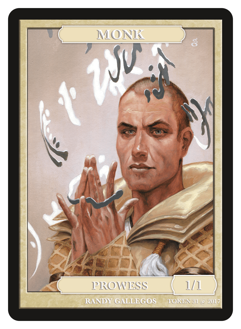 Monk Token (1/1 - Prowess) by Randy Gallegos