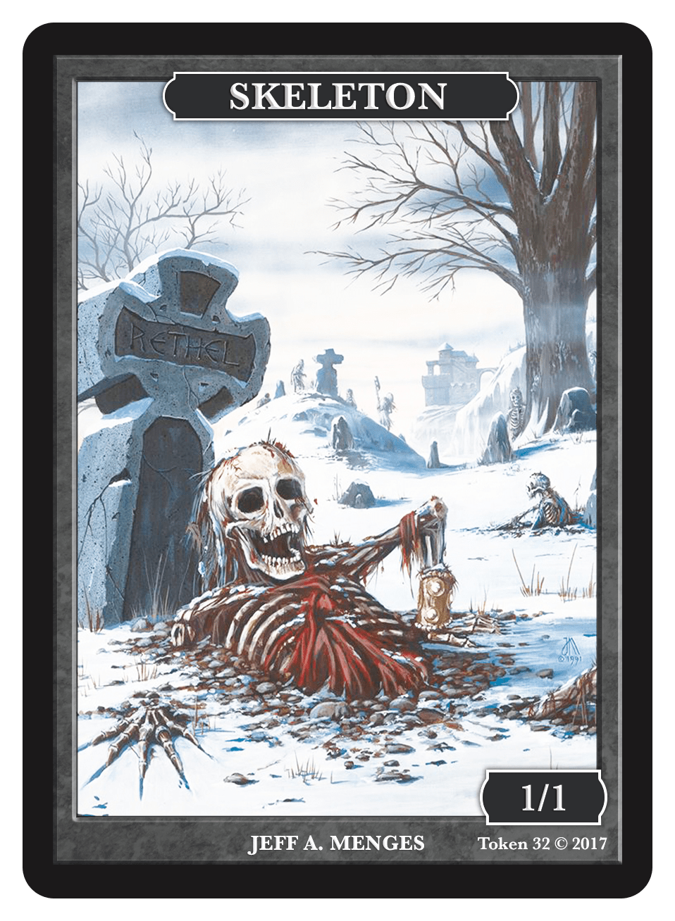 Skeleton Token (1/1) by Jeff A. Menges - Token - Original Magic Art - Accessories for Magic the Gathering and other card games