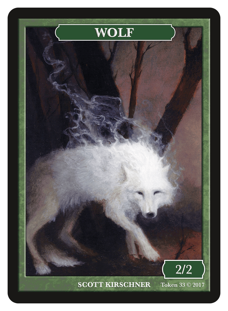 Wolf Token (2/2) by Scott Kirschner - Token - Original Magic Art - Accessories for Magic the Gathering and other card games