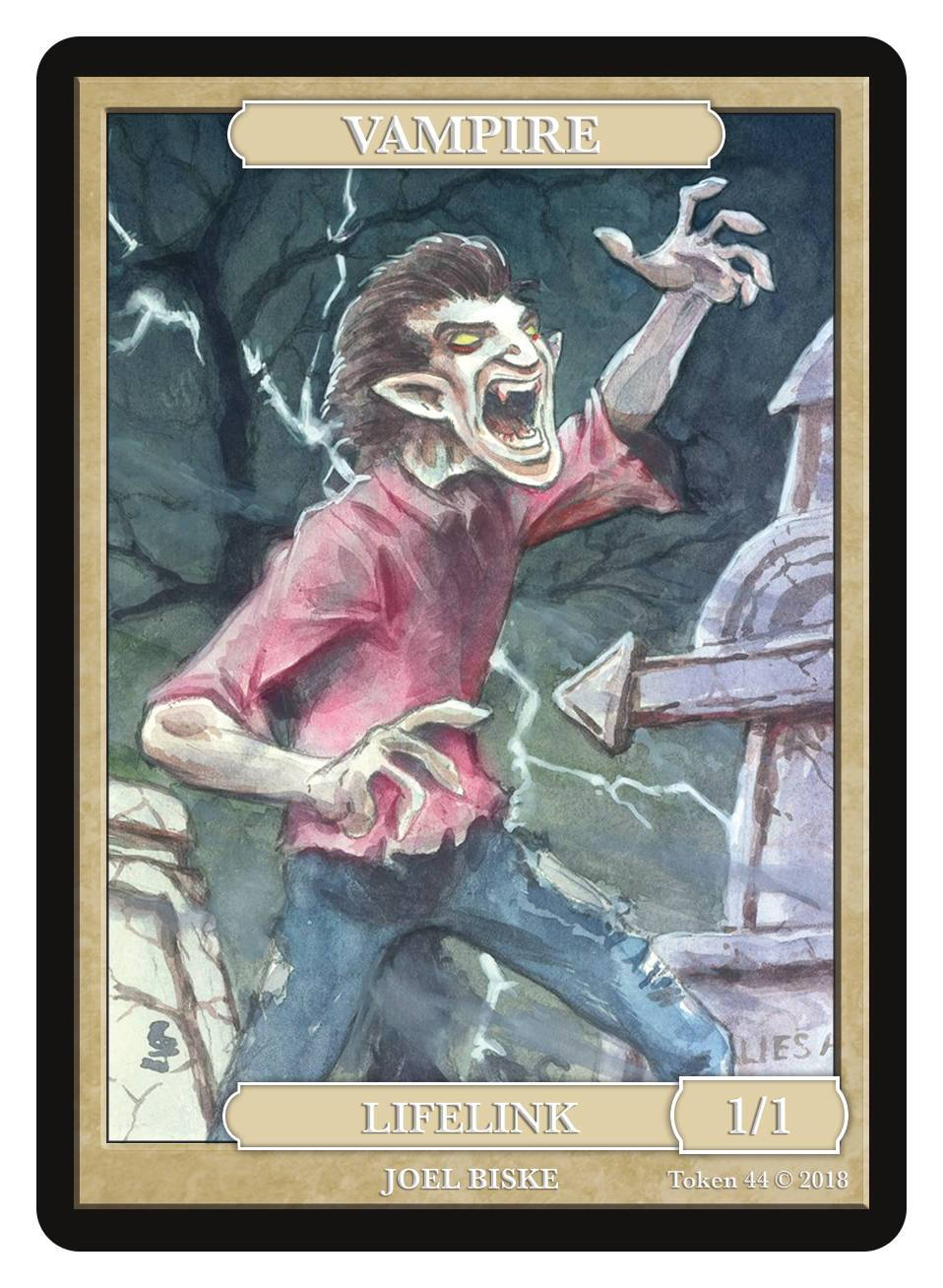 Vampire Token (1/1 - Lifelink) by Joel Biske - Token - Original Magic Art - Accessories for Magic the Gathering and other card games