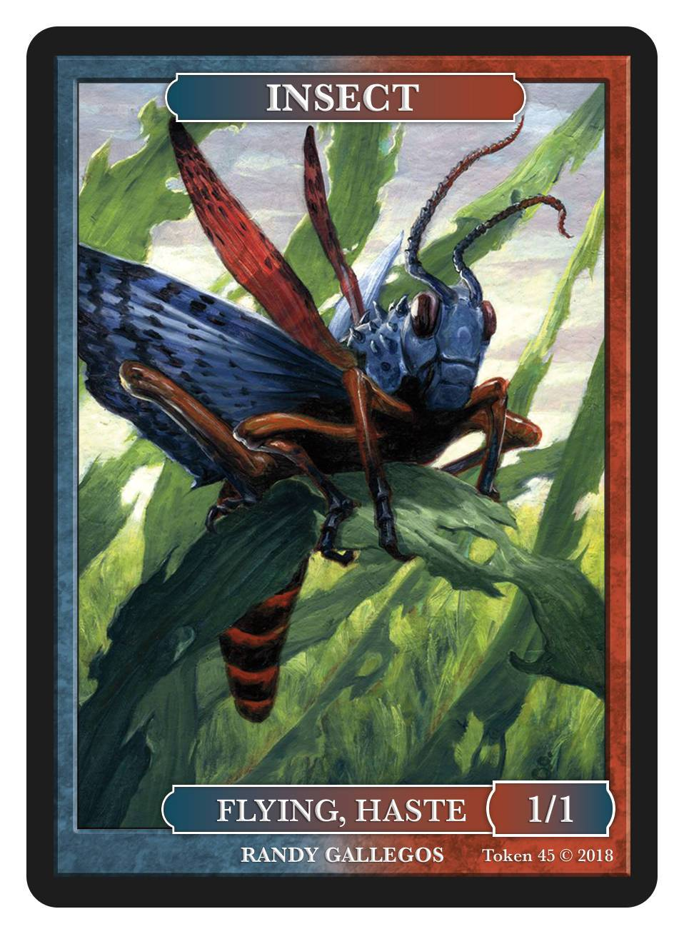 Insect Token (1/1 - Flying, Haste) by Randy Gallegos - Token - Original Magic Art - Accessories for Magic the Gathering and other card games