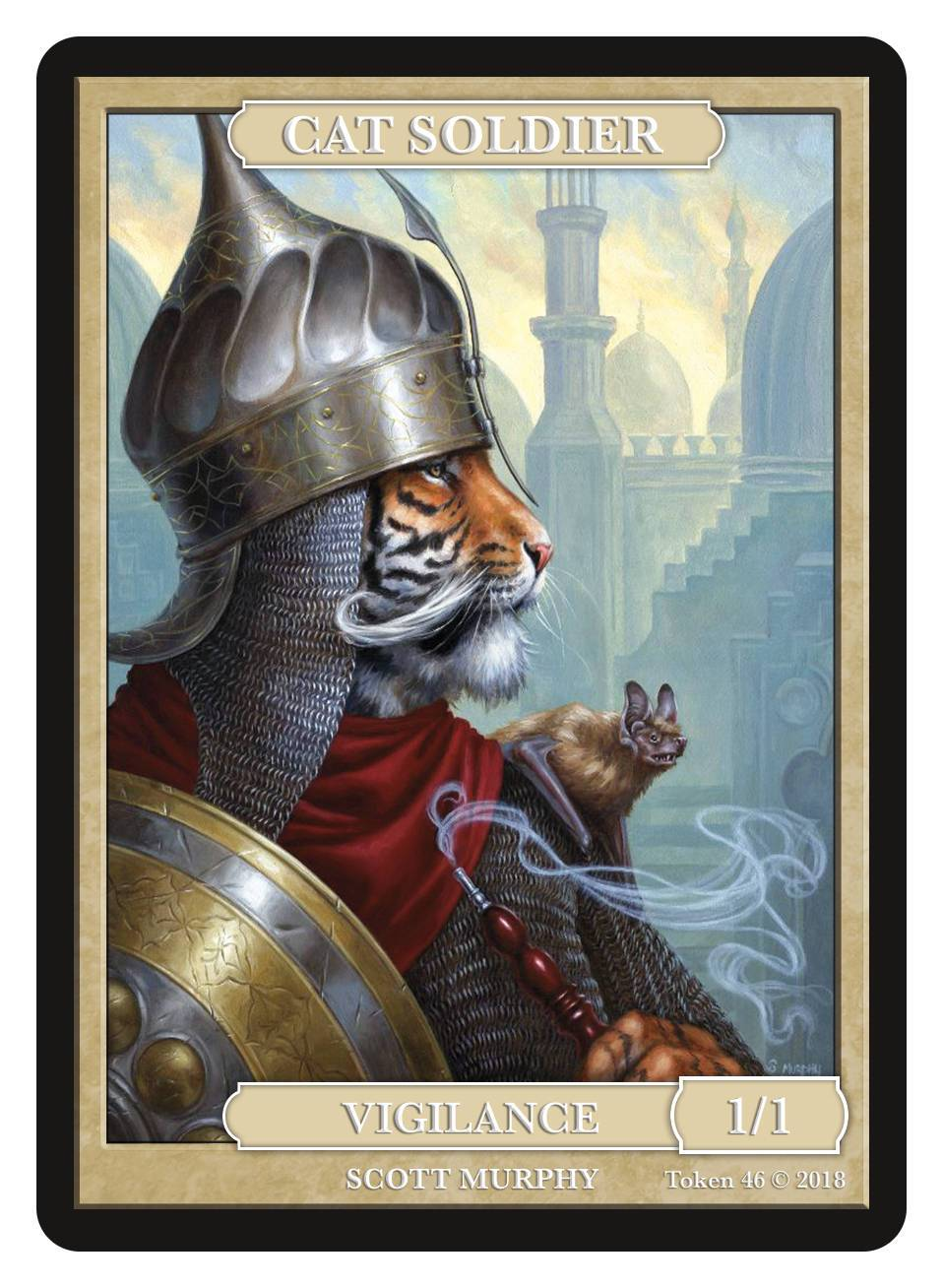 Cat Soldier Token (1/1 - Vigilance) by Scott Murphy - Token - Original Magic Art - Accessories for Magic the Gathering and other card games