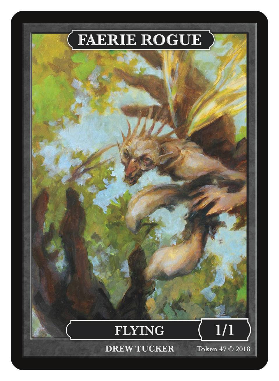 Faerie Rogue Token (1/1 - Flying) by Drew Tucker - Token - Original Magic Art - Accessories for Magic the Gathering and other card games