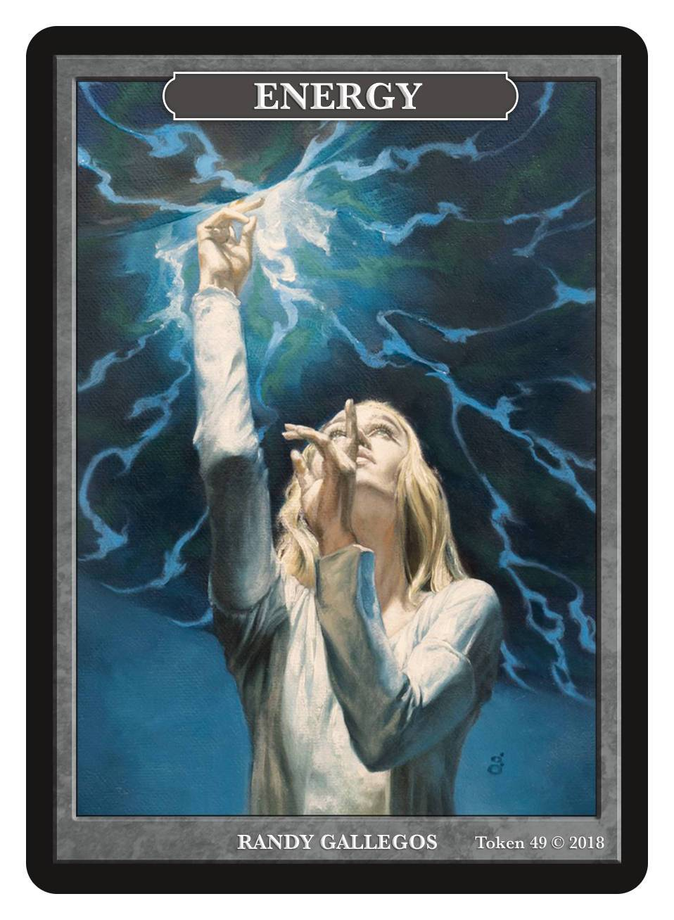 Energy Token by Randy Gallegos - Token - Original Magic Art - Accessories for Magic the Gathering and other card games