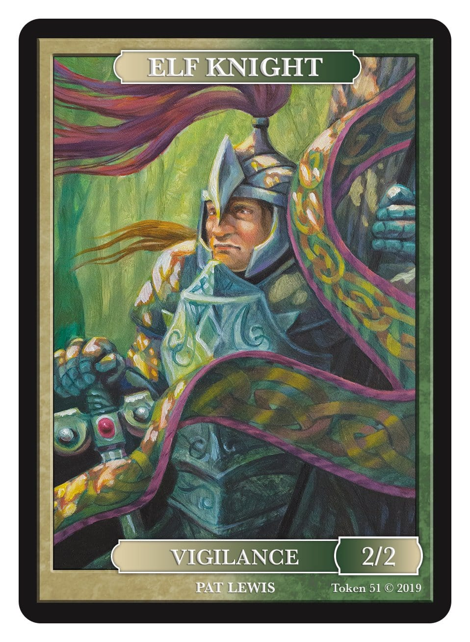 Elf Knight Token (2/2 - Vigilance) by Pat Lewis - Token - Original Magic Art - Accessories for Magic the Gathering and other card games