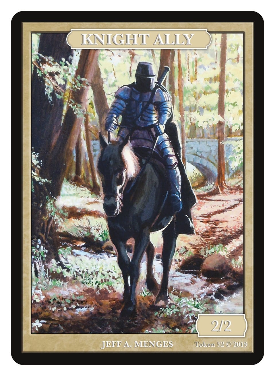 Knight Ally Token (2/2) by Jeff A. Menges - Token - Original Magic Art - Accessories for Magic the Gathering and other card games