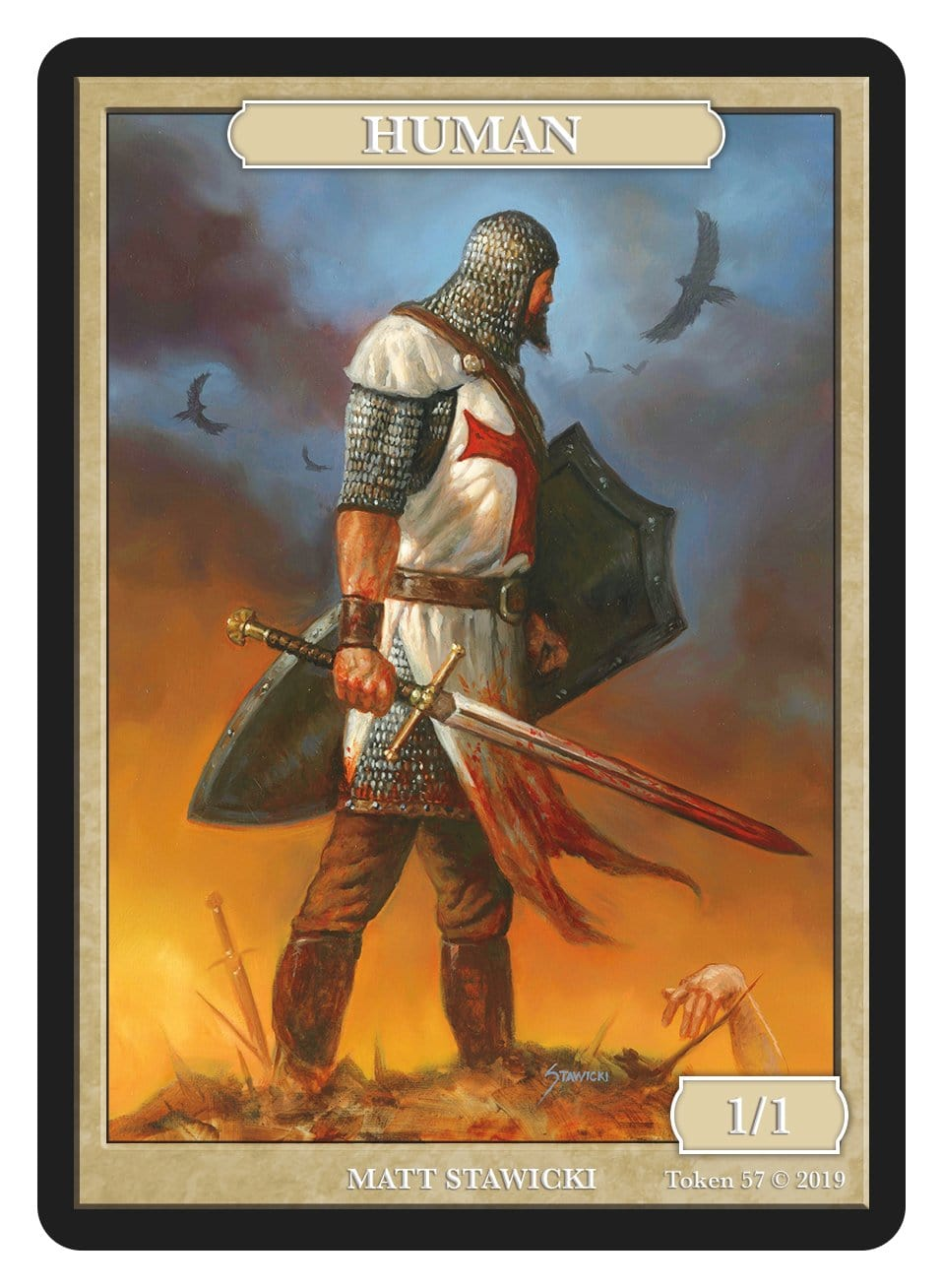 Human Token (1/1) by Matt Stawicki - Token - Original Magic Art - Accessories for Magic the Gathering and other card games