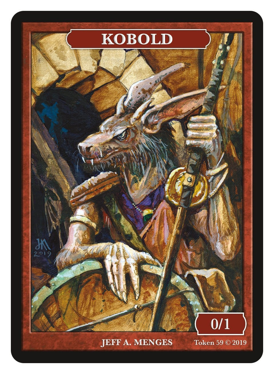 Kobold Token (0/1) by Jeff A. Menges - Token - Original Magic Art - Accessories for Magic the Gathering and other card games