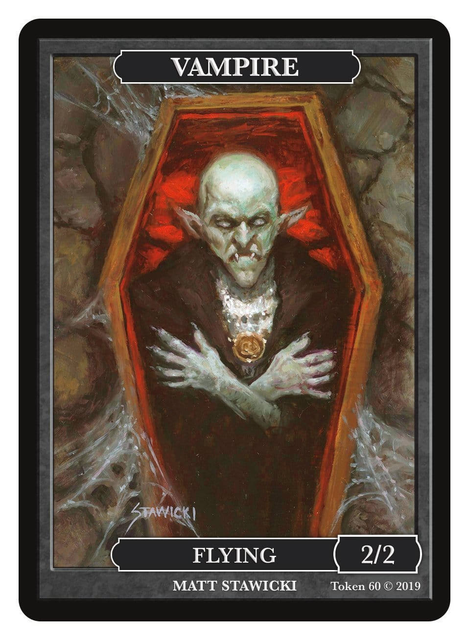 Vampire Token (2/2 - Flying) by Matt Stawicki - Token - Original Magic Art - Accessories for Magic the Gathering and other card games