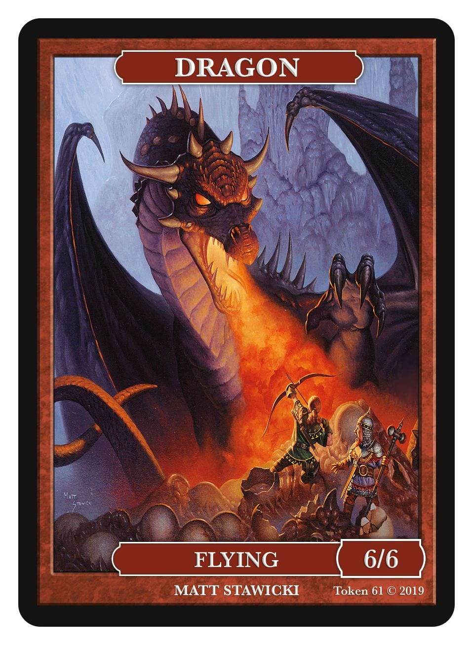 Dragon Token (6/6 - Flying) by Matt Stawicki - Token - Original Magic Art - Accessories for Magic the Gathering and other card games