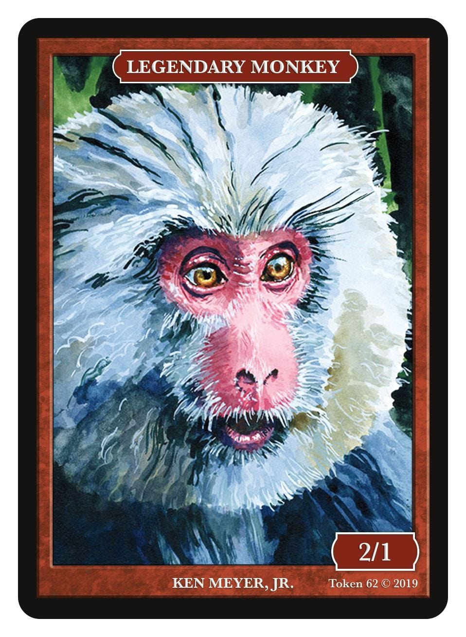 Legendary Monkey Token (2/1) by Ken Meyer Jr. - Token - Original Magic Art - Accessories for Magic the Gathering and other card games
