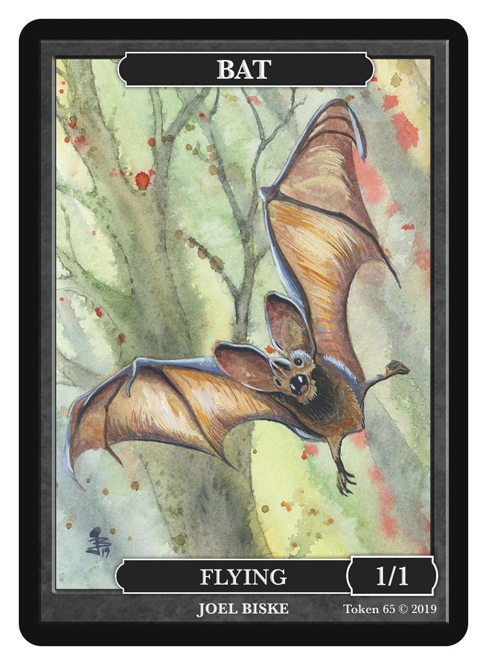 Bat Token (1/1 - Flying) by Joel Biske - Token - Original Magic Art - Accessories for Magic the Gathering and other card games
