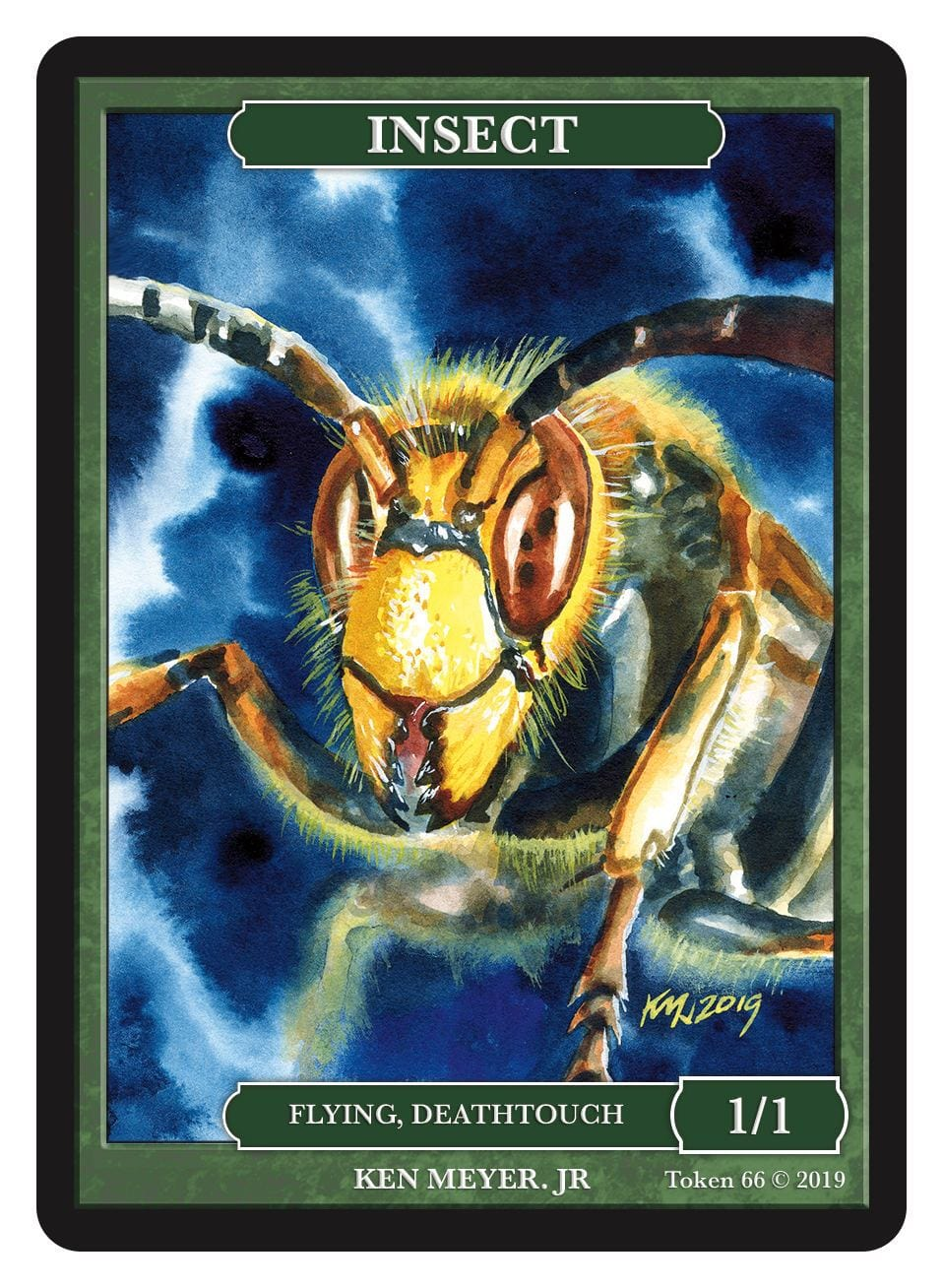 Insect Token (1/1 - Flying, Deathtouch) by Ken Meyer Jr. - Token - Original Magic Art - Accessories for Magic the Gathering and other card games