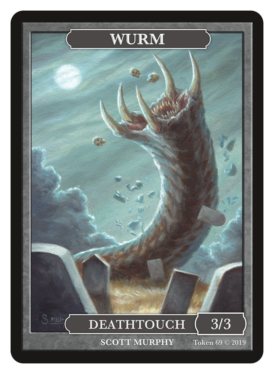 Wurm Token (3/3 - Deathtouch) by Scott Murphy - Token - Original Magic Art - Accessories for Magic the Gathering and other card games