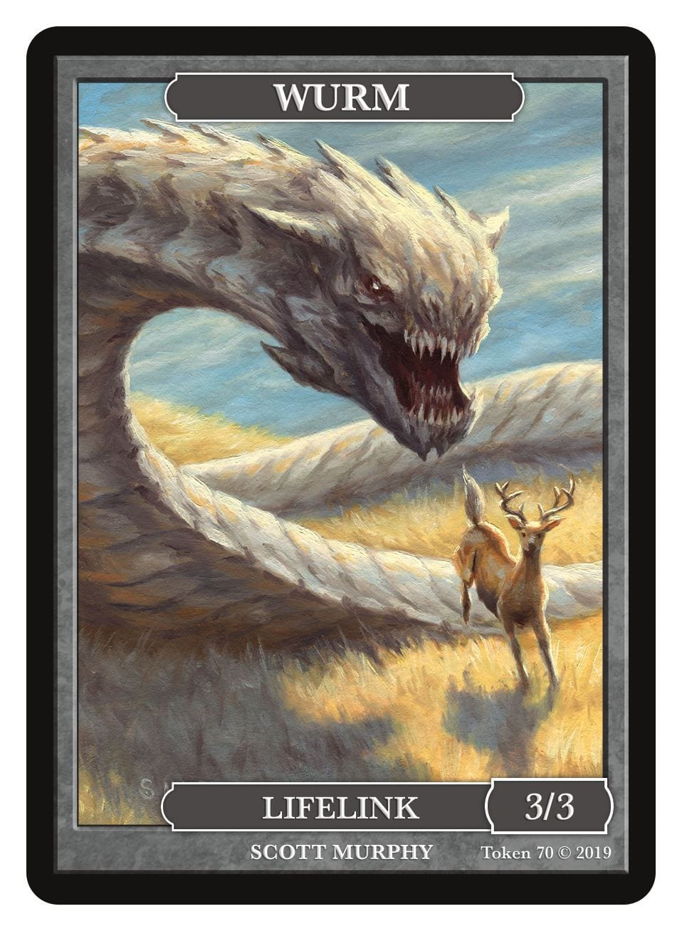 Wurm Token (3/3 - Lifelink) by Scott Murphy - Token - Original Magic Art - Accessories for Magic the Gathering and other card games