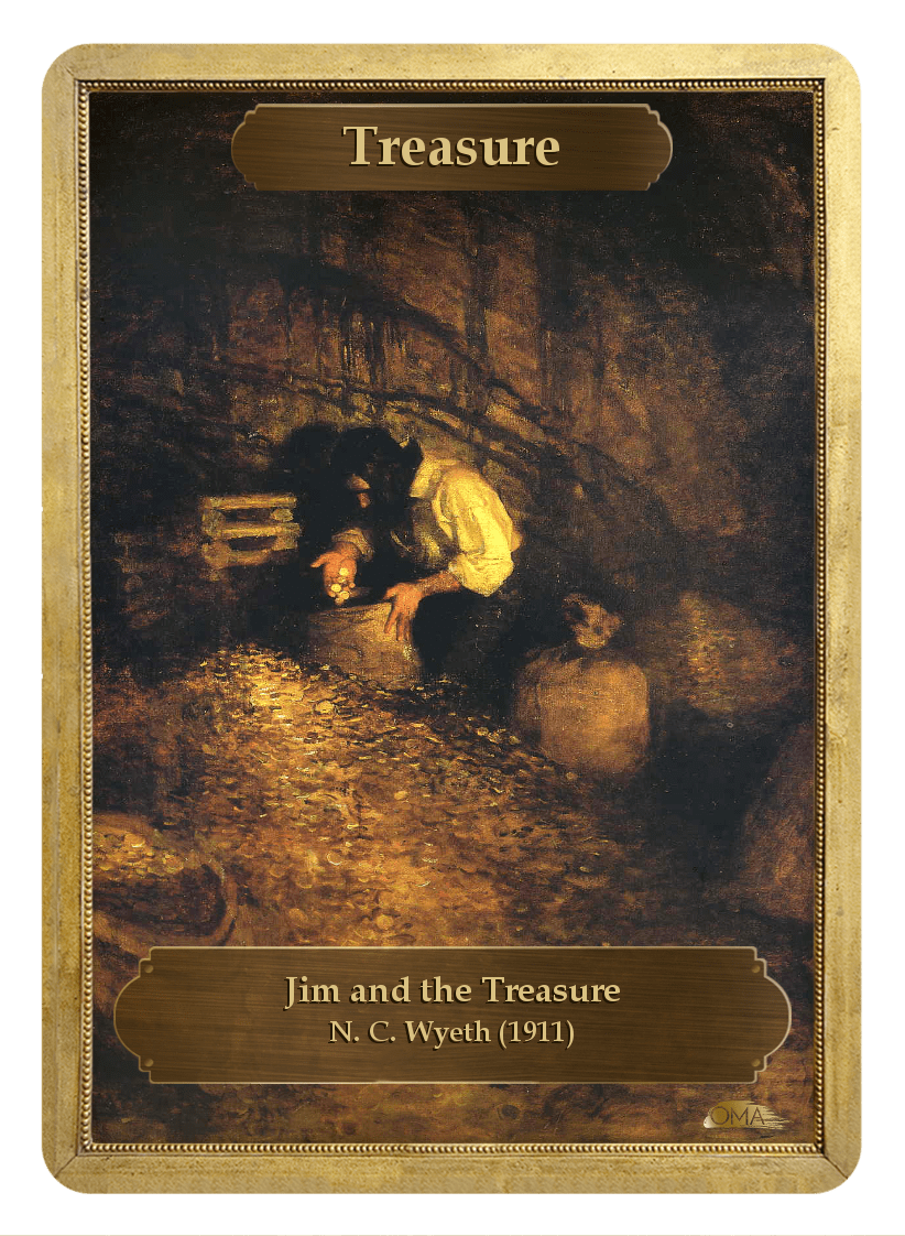 Treasure Counter by N. C. Wyeth - Token - Original Magic Art - Accessories for Magic the Gathering and other card games
