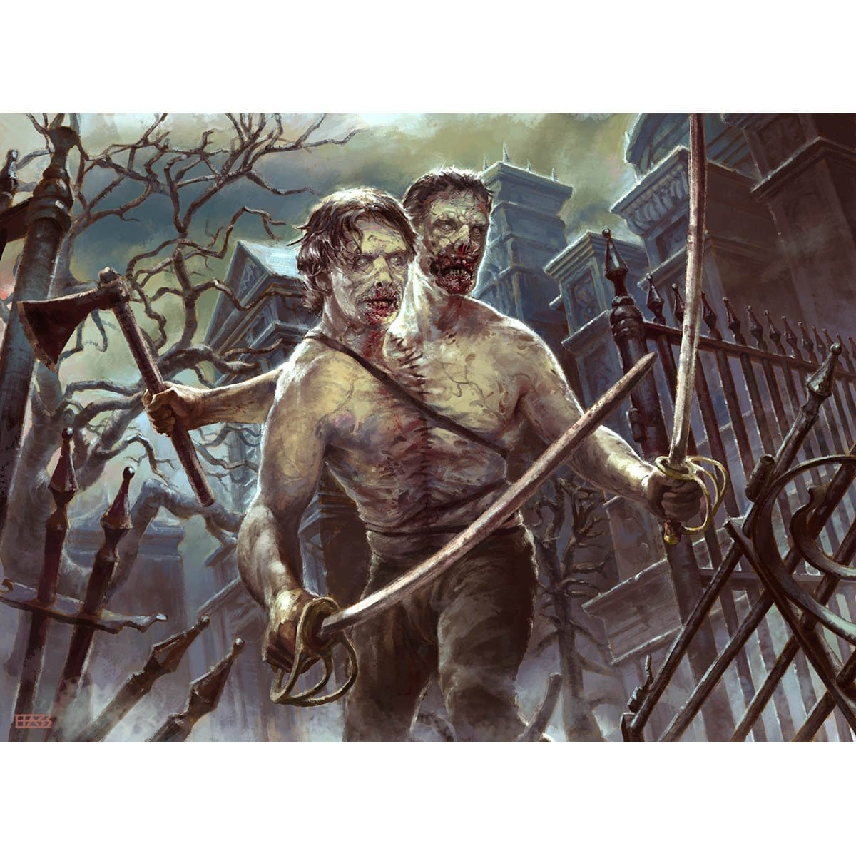 Two-Headed Zombie Print - Print - Original Magic Art - Accessories for Magic the Gathering and other card games
