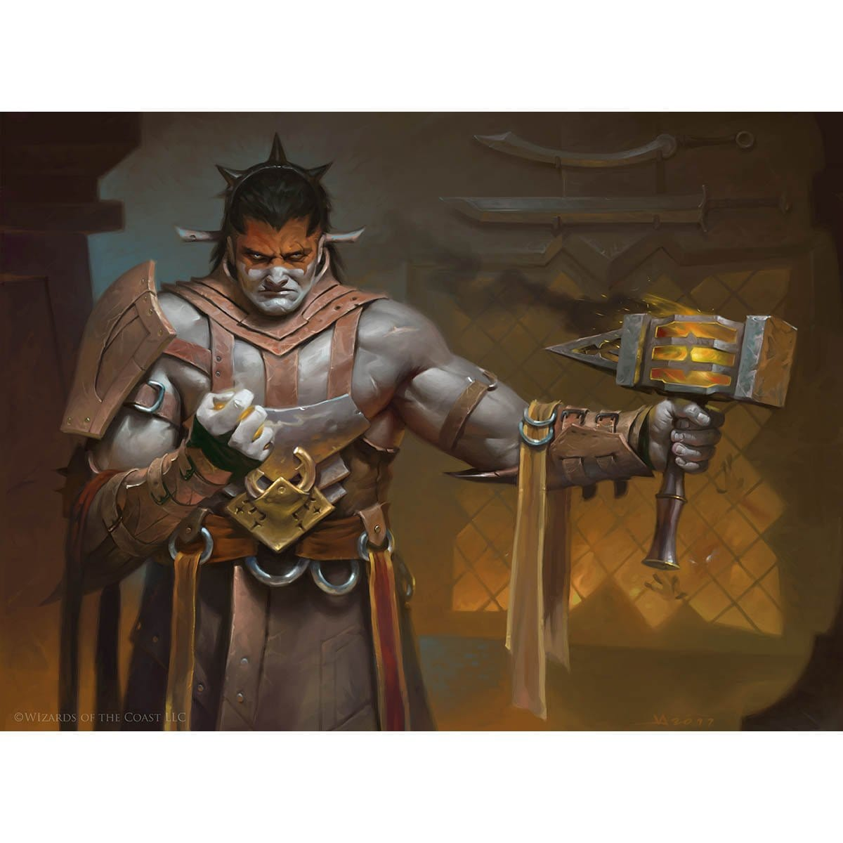 Valduk, Keeper of the Flame Print - Print - Original Magic Art - Accessories for Magic the Gathering and other card games