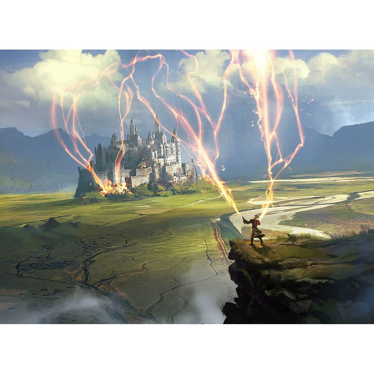 Wizard's Lightning Print - Print - Original Magic Art - Accessories for Magic the Gathering and other card games