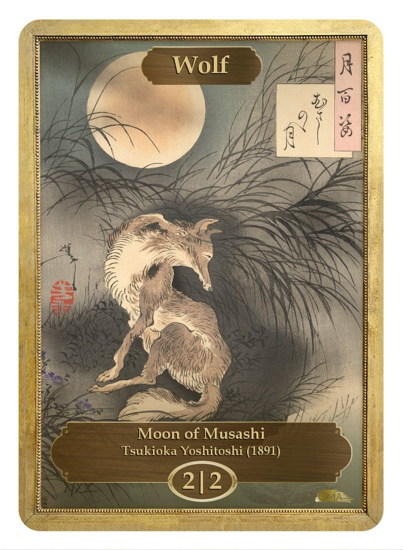Wolf Token (2/2) by Tsukioka Yoshitoshi - Token - Original Magic Art - Accessories for Magic the Gathering and other card games