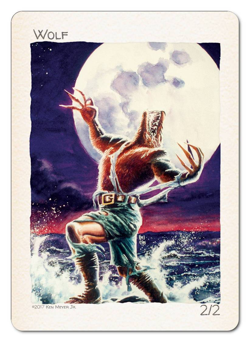 Wolf Token (2/2) by Ken Meyer Jr. - Token - Original Magic Art - Accessories for Magic the Gathering and other card games