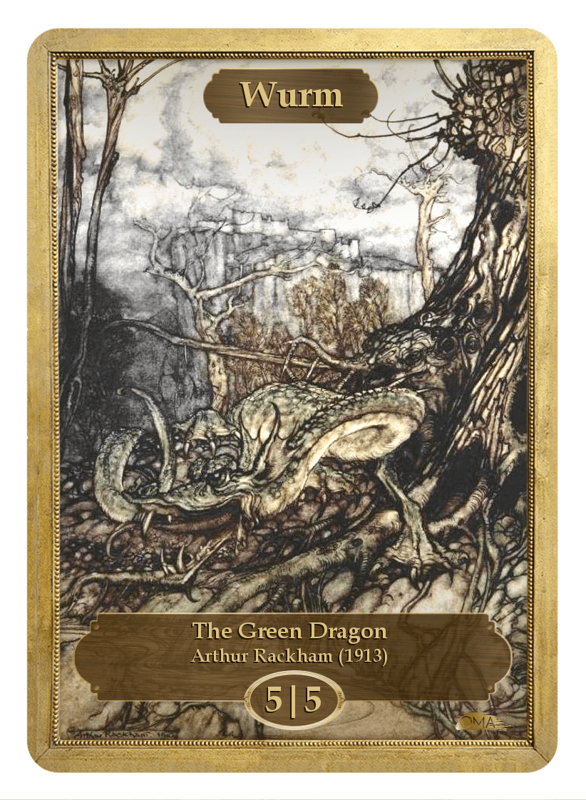 Wurm Token (5/5) by Arthur Rackham - Token - Original Magic Art - Accessories for Magic the Gathering and other card games