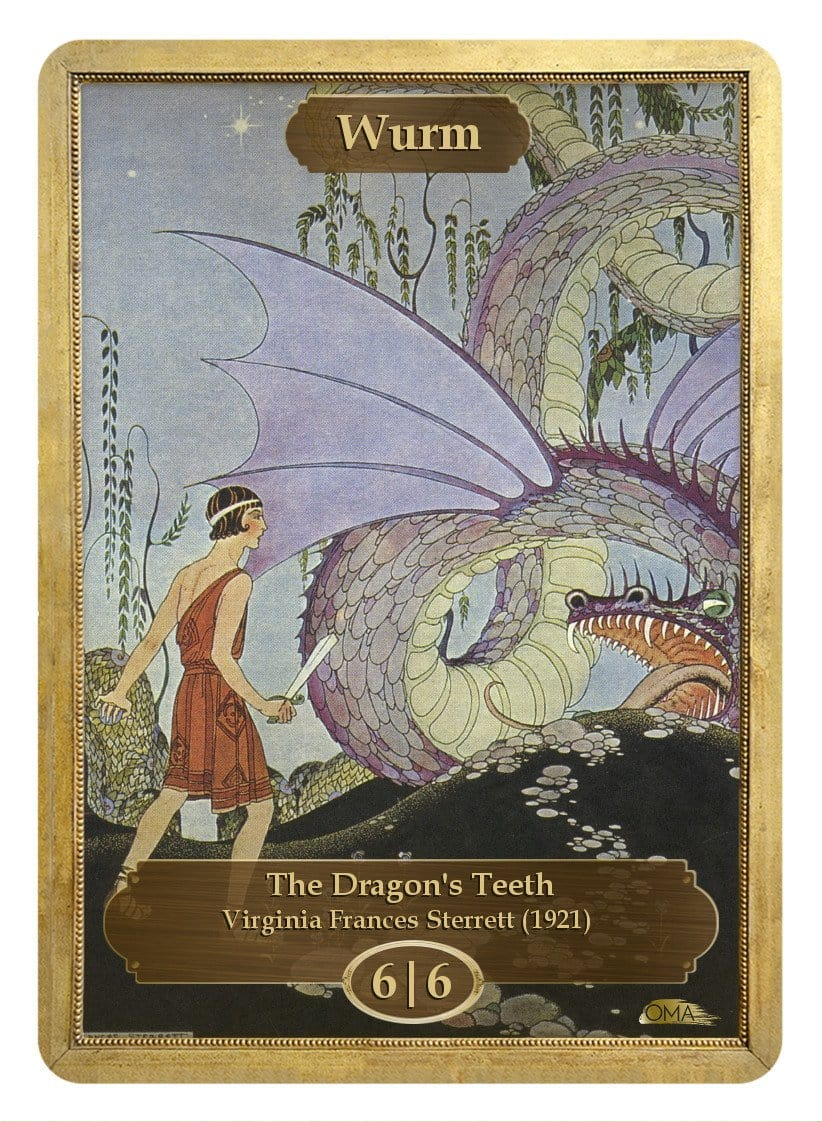 Wurm Token (6/6) by Virginia Frances Sterrett - Token - Original Magic Art - Accessories for Magic the Gathering and other card games