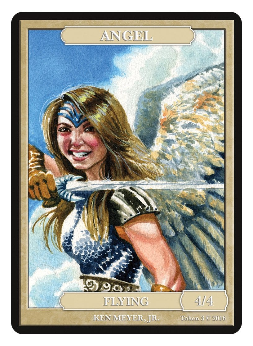 Angel Token (4/4) by Ken Meyer Jr. - Token - Original Magic Art - Accessories for Magic the Gathering and other card games