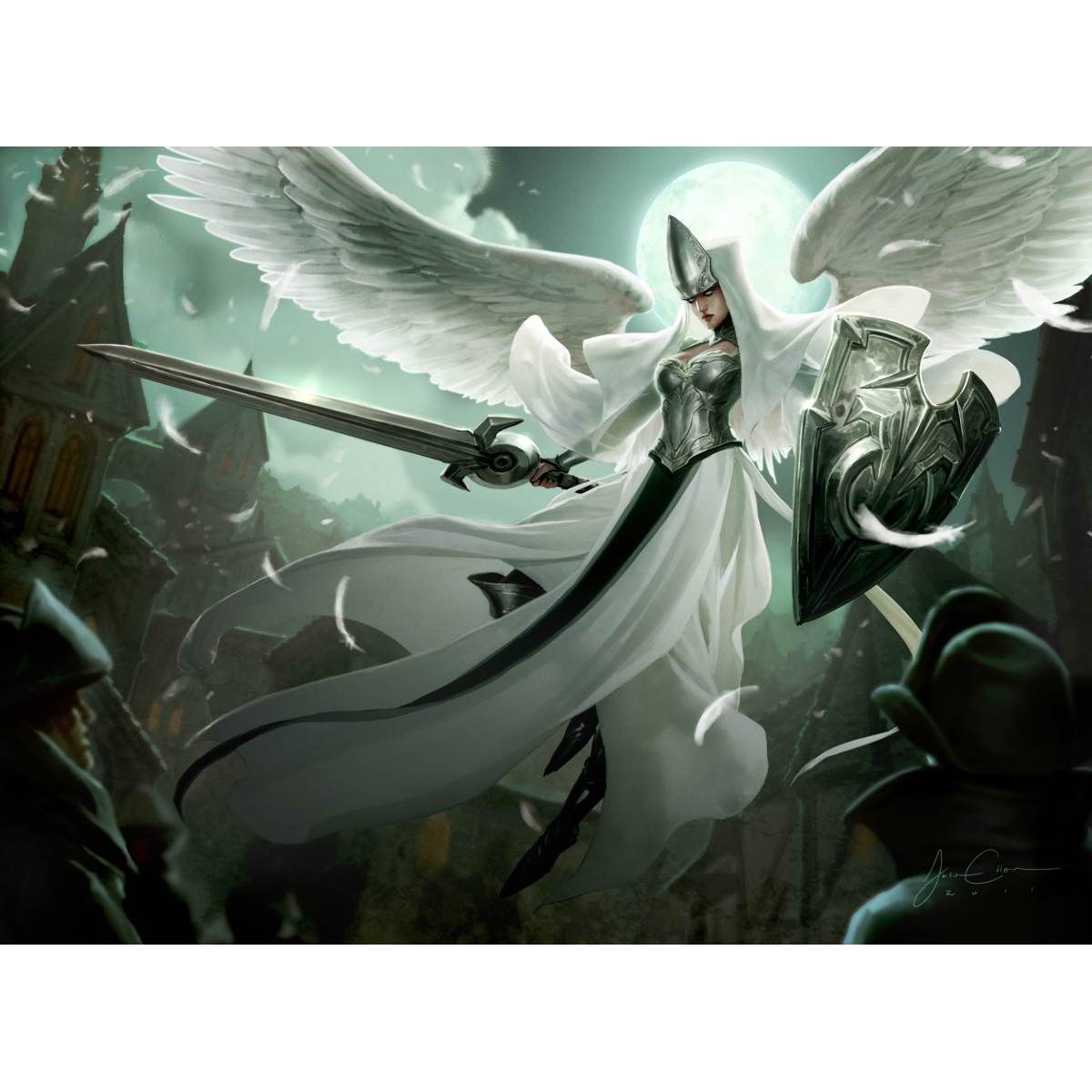 Angelic Overseer Print - Print - Original Magic Art - Accessories for Magic the Gathering and other card games