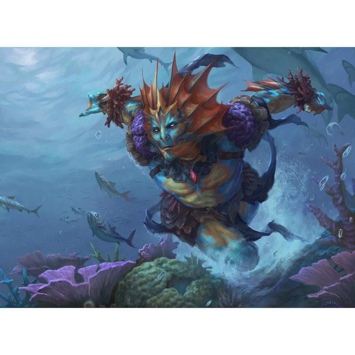Coral Merfolk Print - Print - Original Magic Art - Accessories for Magic the Gathering and other card games