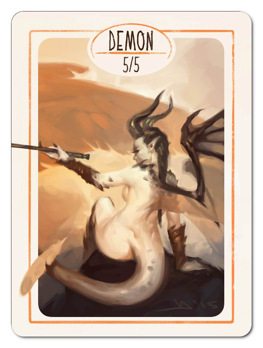 Demon Token (5/5) by Victor Adame Minguez - Token - Original Magic Art - Accessories for Magic the Gathering and other card games