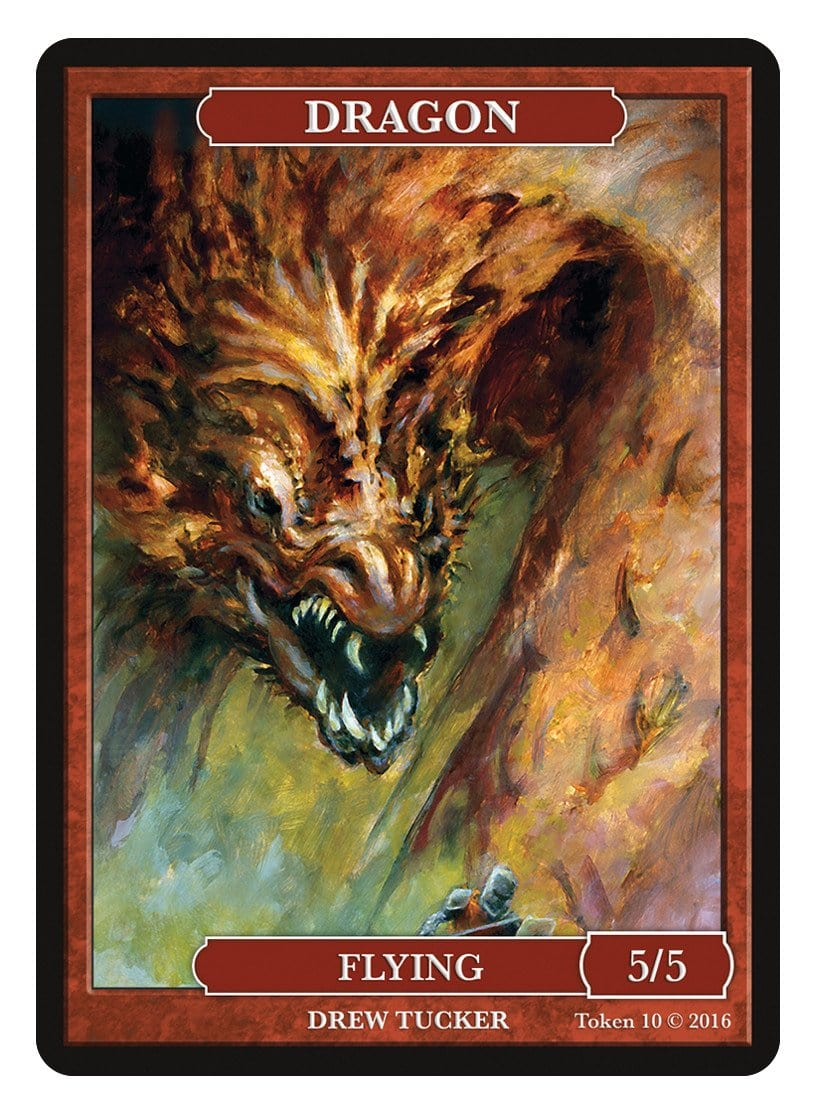 Dragon Token (5/5) by Drew Tucker - Token - Original Magic Art - Accessories for Magic the Gathering and other card games