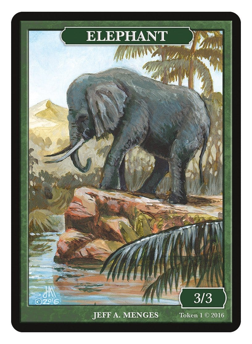 Elephant Token (3/3) by Jeff A. Menges - Token - Original Magic Art - Accessories for Magic the Gathering and other card games
