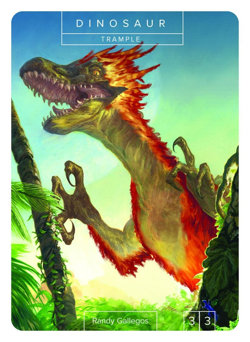 Dinosaur Token (3/3 - Trample) by Randy Gallegos - Token - Original Magic Art - Accessories for Magic the Gathering and other card games