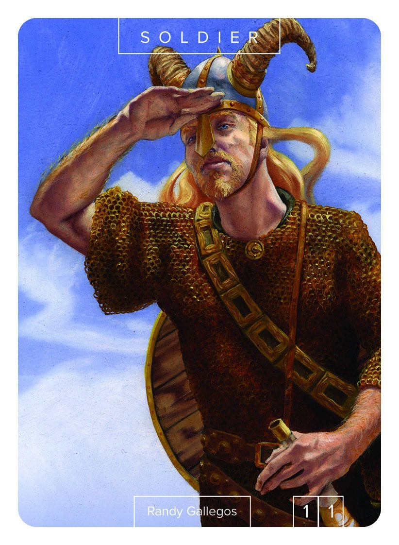 Soldier Token (1/1) by Randy Gallegos - Token - Original Magic Art - Accessories for Magic the Gathering and other card games