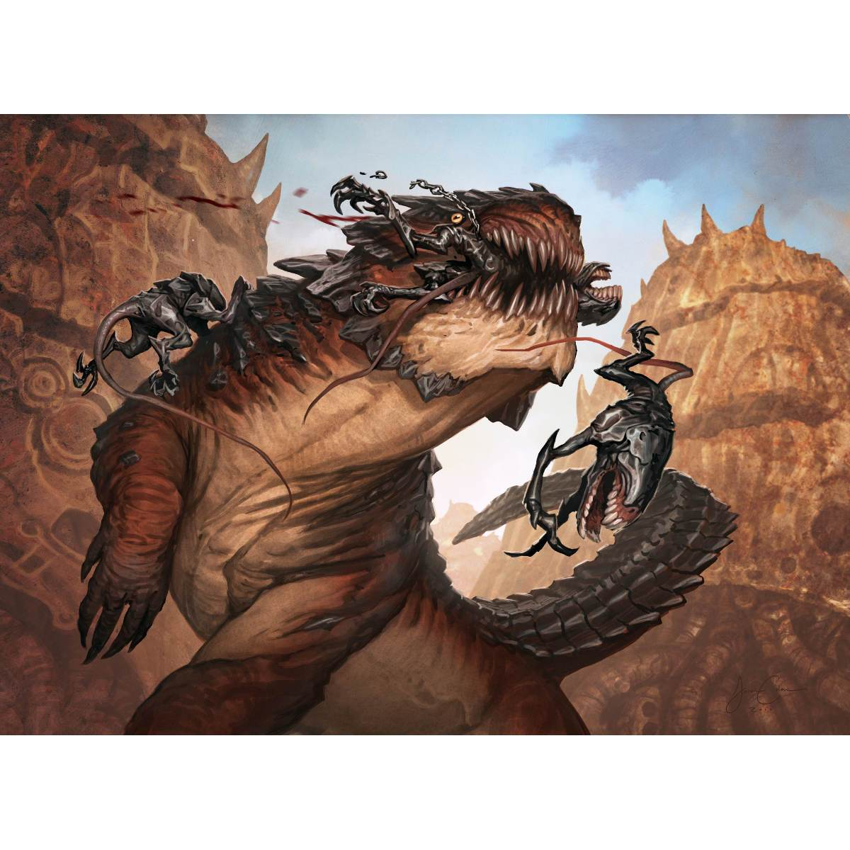 Gnathosaur Print - Print - Original Magic Art - Accessories for Magic the Gathering and other card games