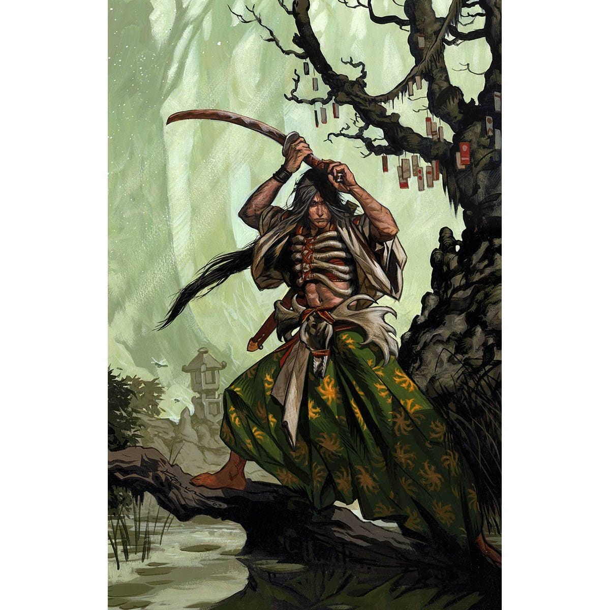 Isao, Enlightened Bushi Print - Print - Original Magic Art - Accessories for Magic the Gathering and other card games