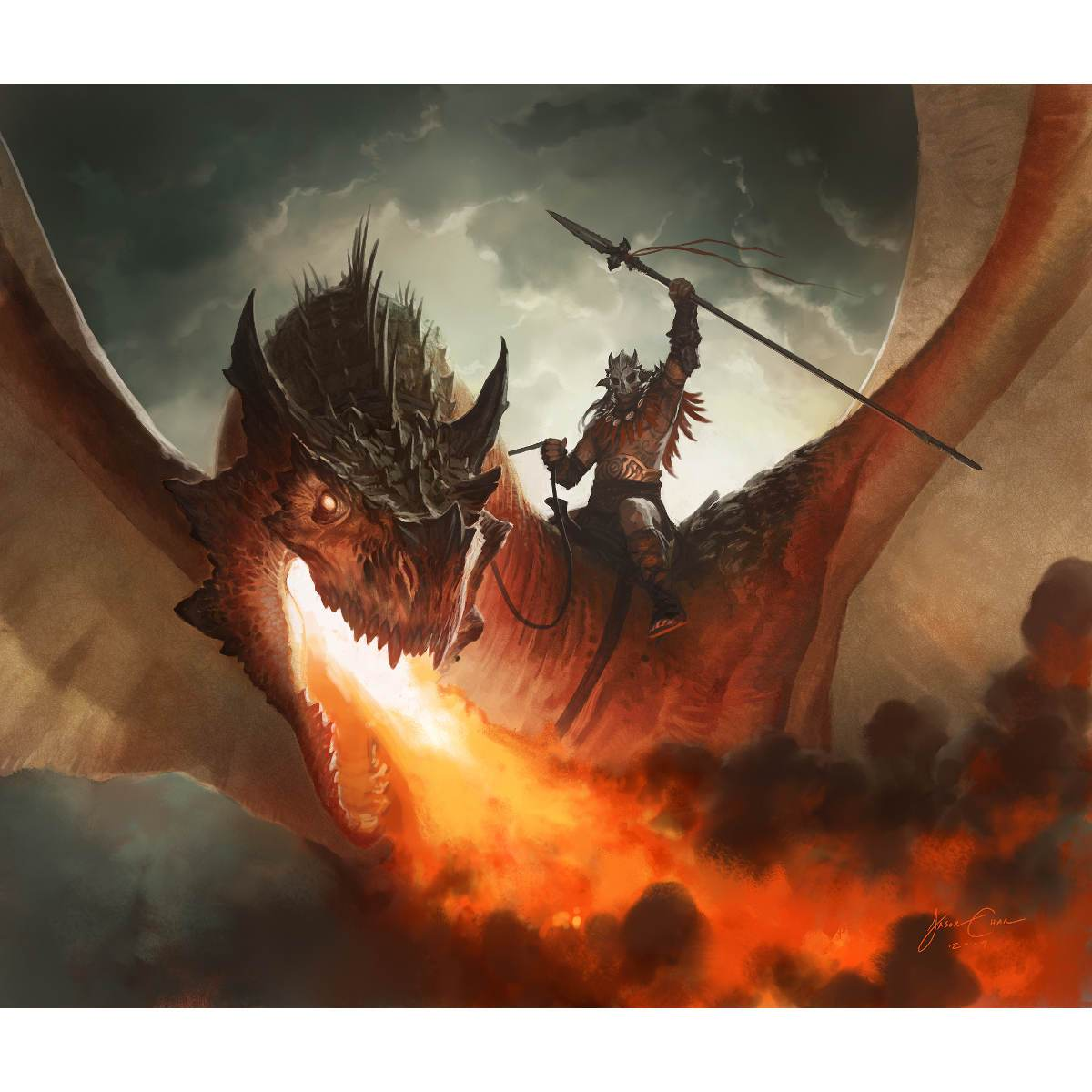 Kargan Dragonlord Print - Print - Original Magic Art - Accessories for Magic the Gathering and other card games