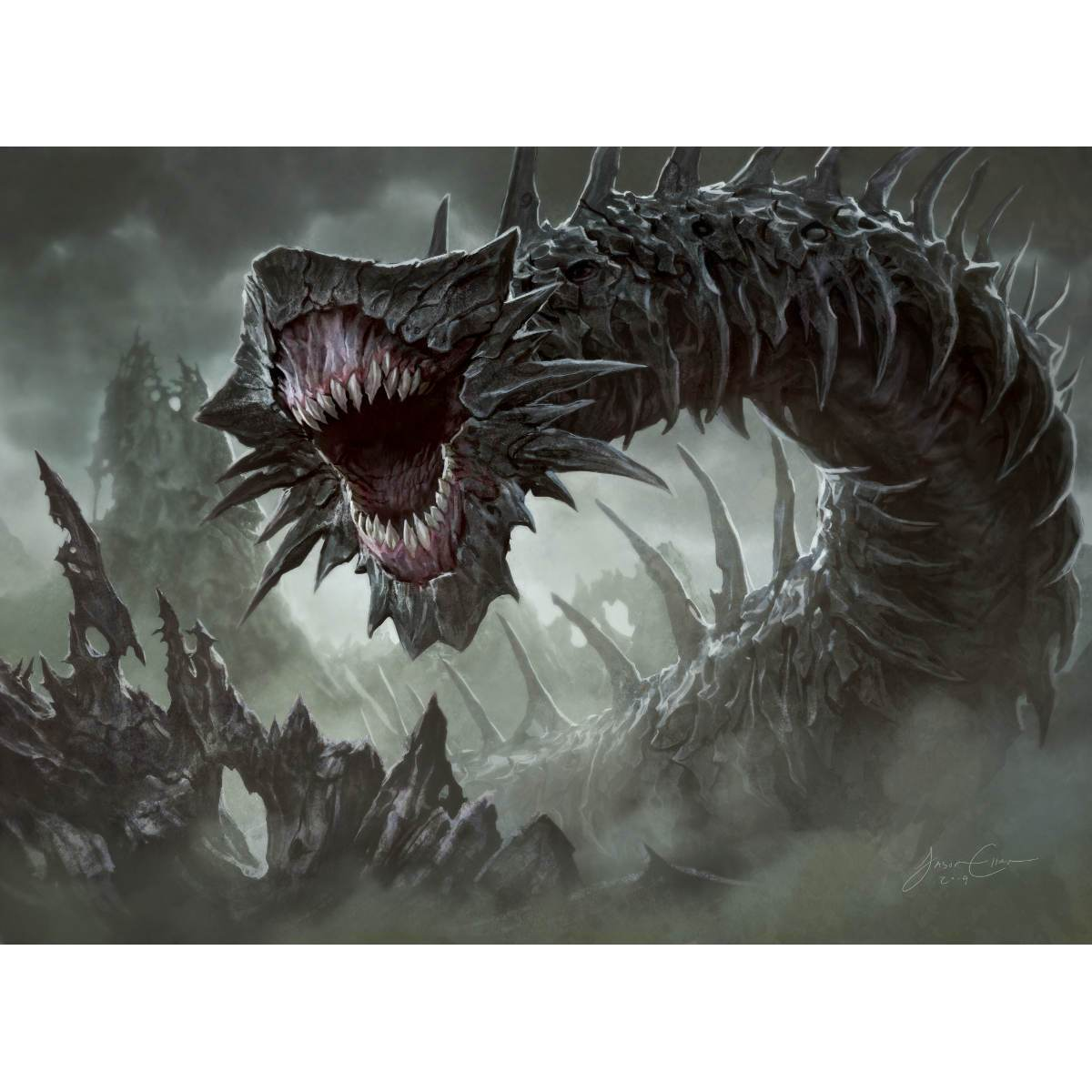 Massacre Wurm Print - Print - Original Magic Art - Accessories for Magic the Gathering and other card games
