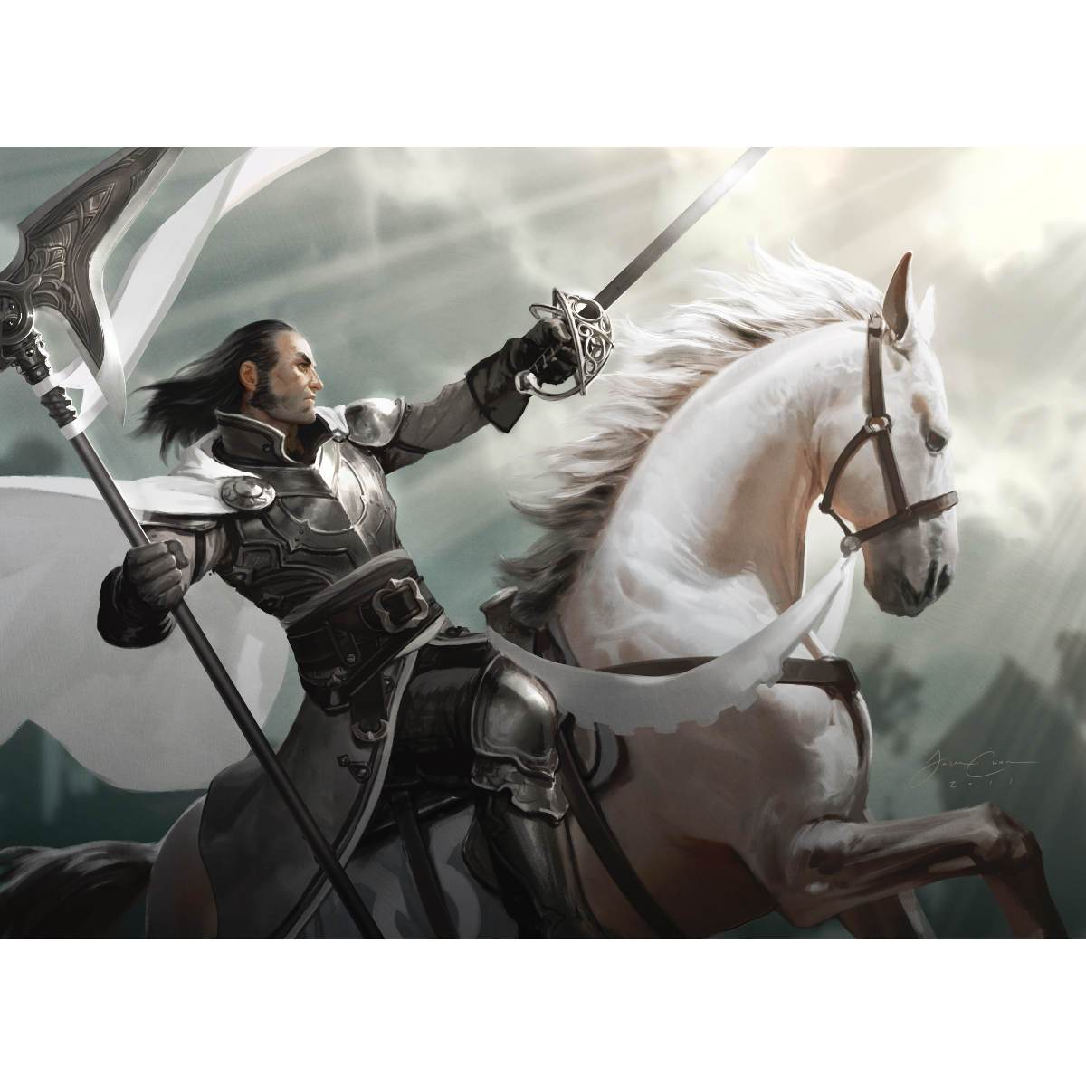 Silverblade Paladin Print - Print - Original Magic Art - Accessories for Magic the Gathering and other card games
