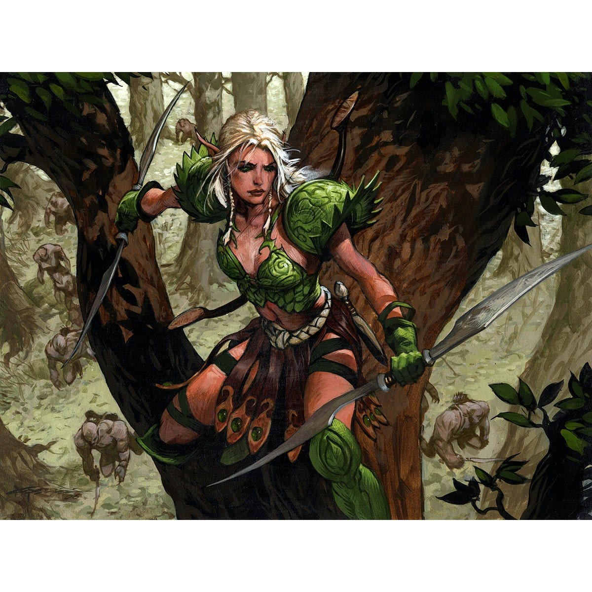Sylvan Ranger Print - Print - Original Magic Art - Accessories for Magic the Gathering and other card games