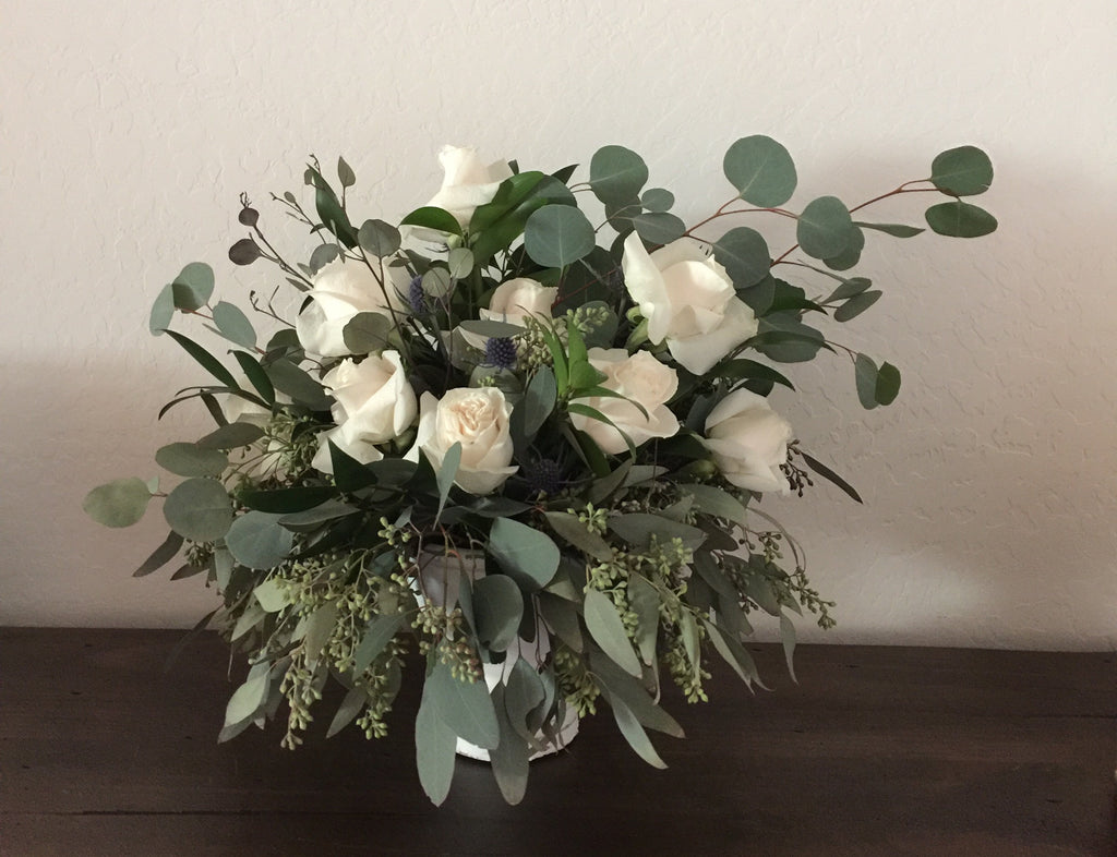 Rose and Eucalyptus Centerpiece