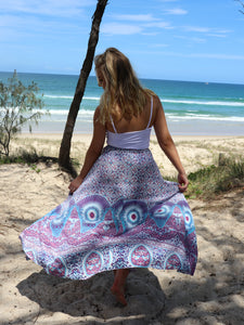 Florentine Maxi Skirt - Purple Print