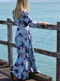 Wrap Dress- Blue Blossom Print
