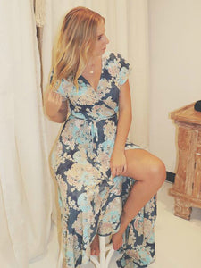 Cap Sleeve Wrap Dress - Blue Blossom Print