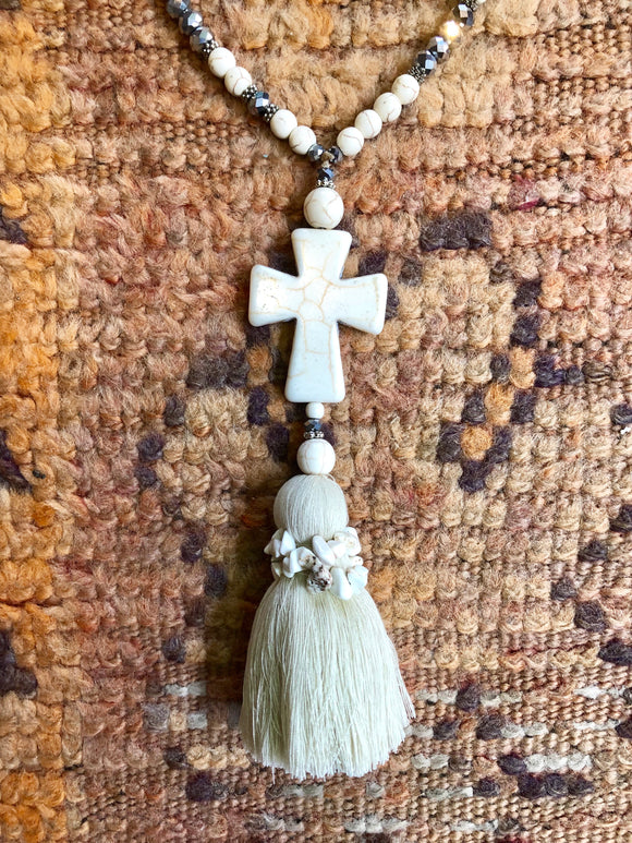 Cross & Oversized Tassel Beaded Necklace